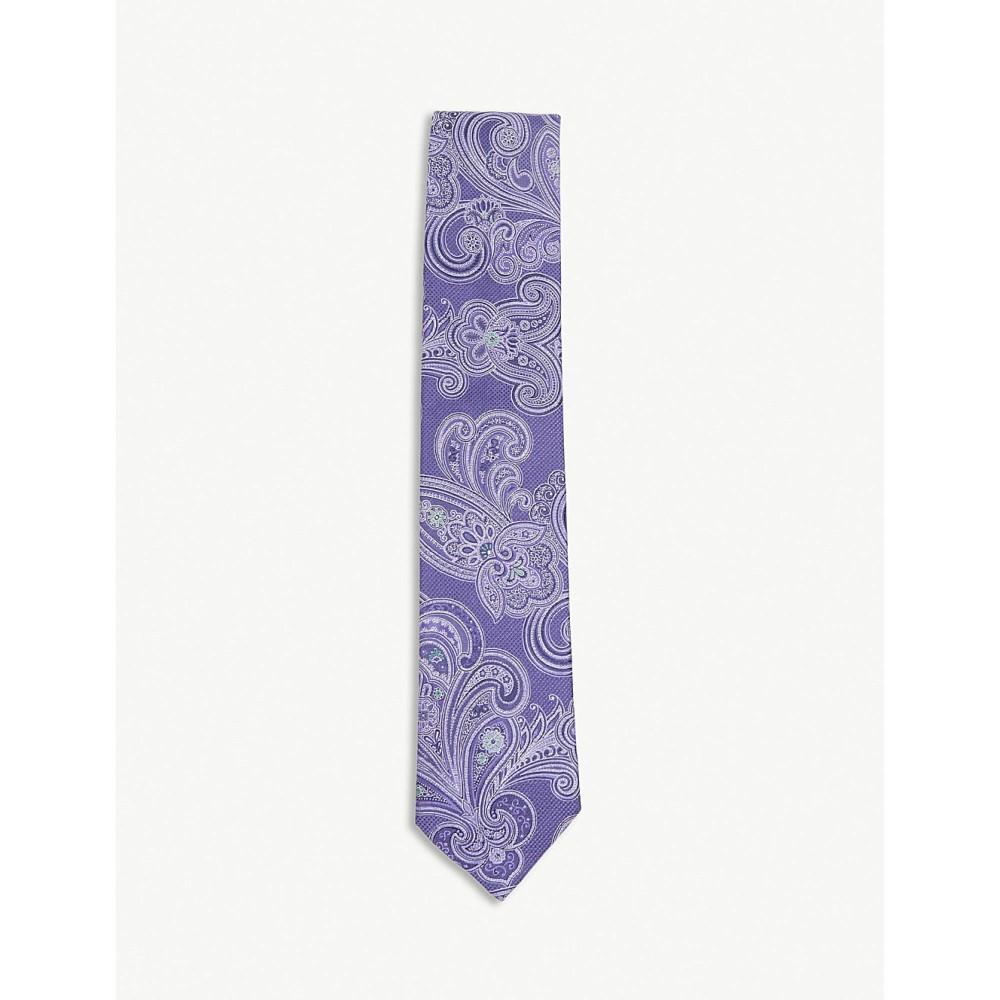 イートン メンズ ネクタイ【diagonal-stripe silk-blend tie】Offwhite/brown