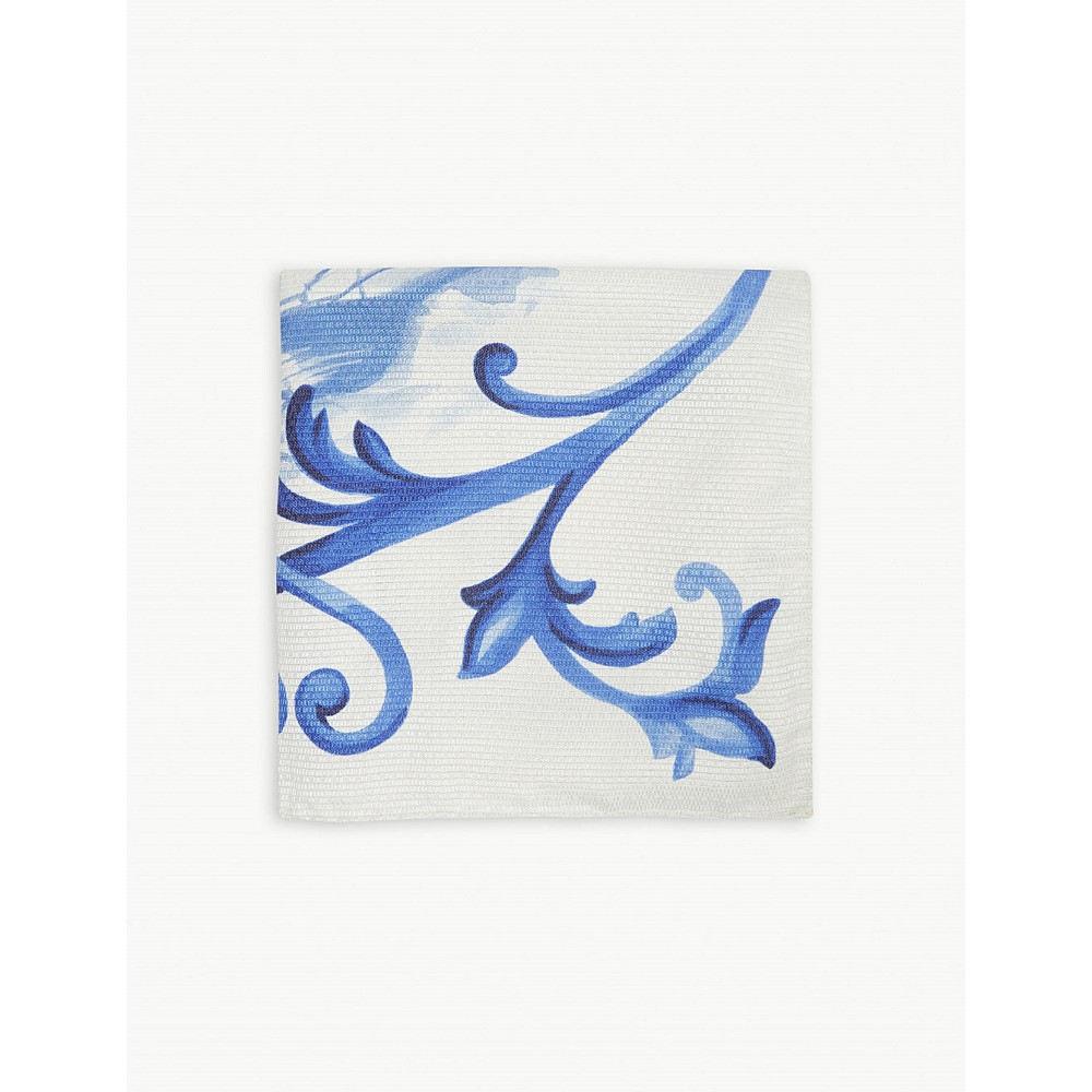 イートン メンズ ハンカチ・チーフ【ship print silk pocket square】Blue