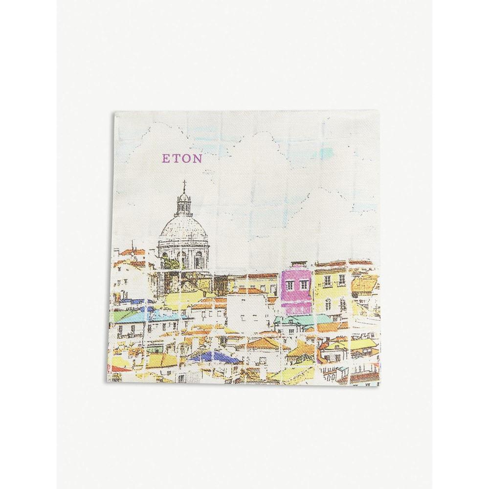 イートン メンズ ハンカチ・チーフ【rooftops print linen-blend pocket square】White
