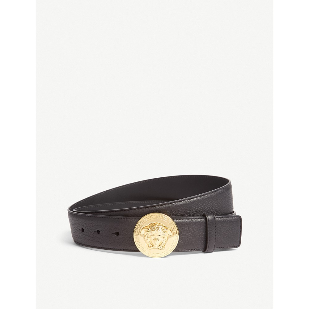 ヴェルサーチ メンズ ベルト【medusa round buckle leather belt】Black gold