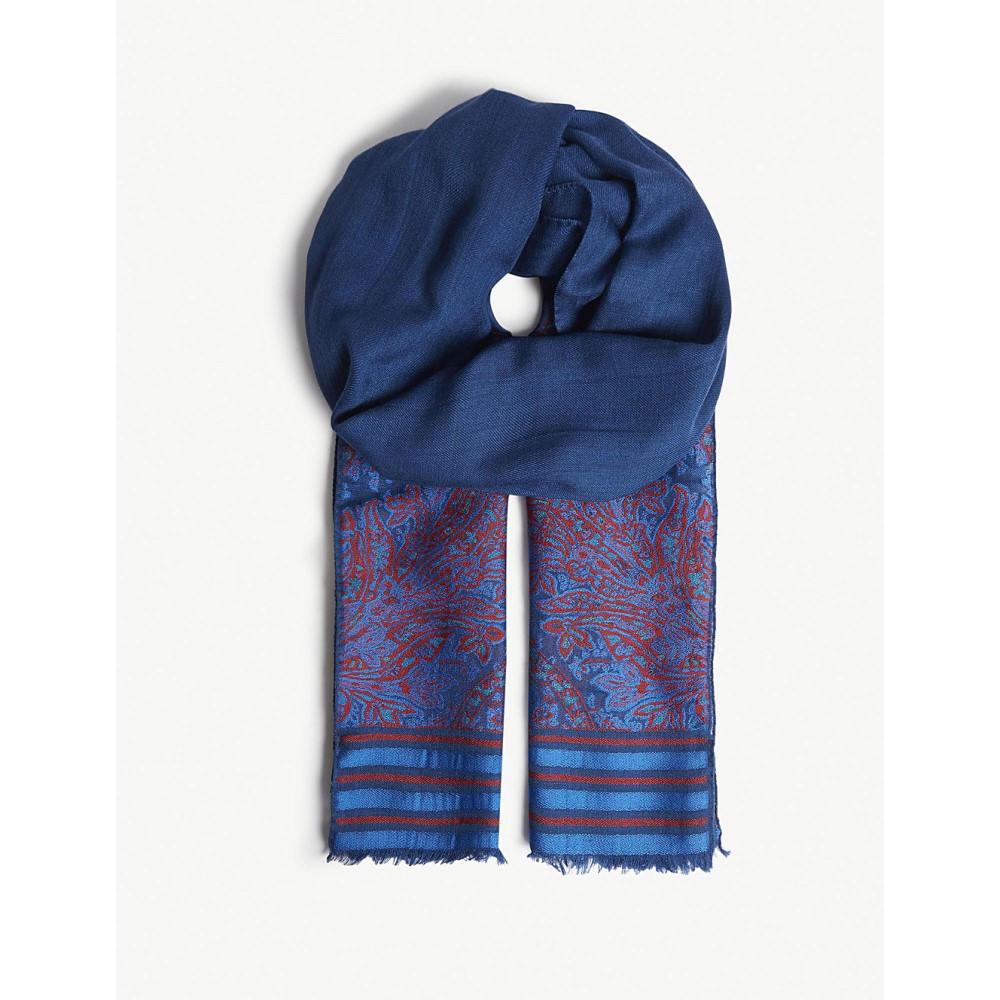 エトロ メンズ マフラー・スカーフ・ストール【intarsia stripe floral scarf】Blue