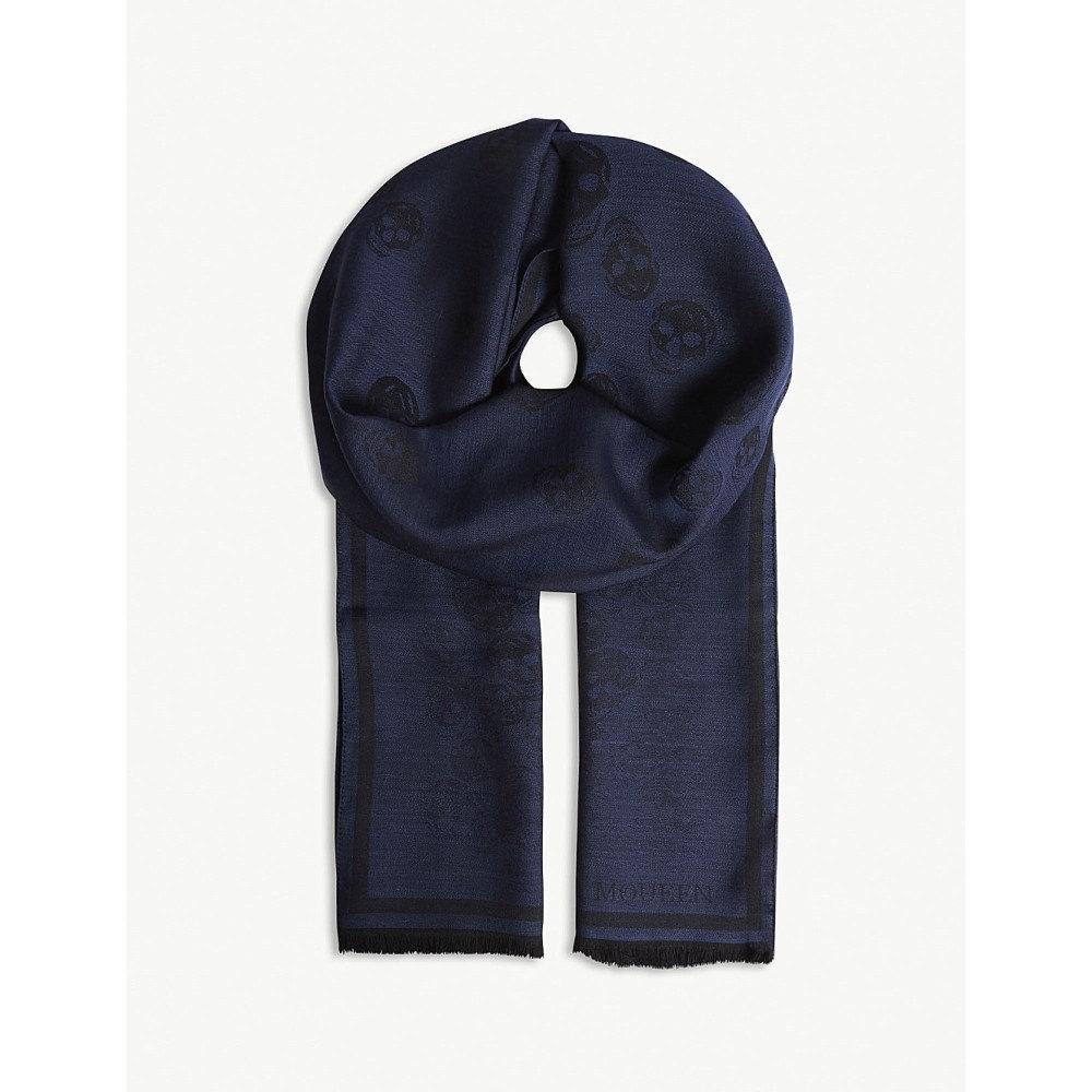 アレキサンダー マックイーン レディース マフラー・スカーフ・ストール【degenerating skull print wool-silk scarf】Black blue