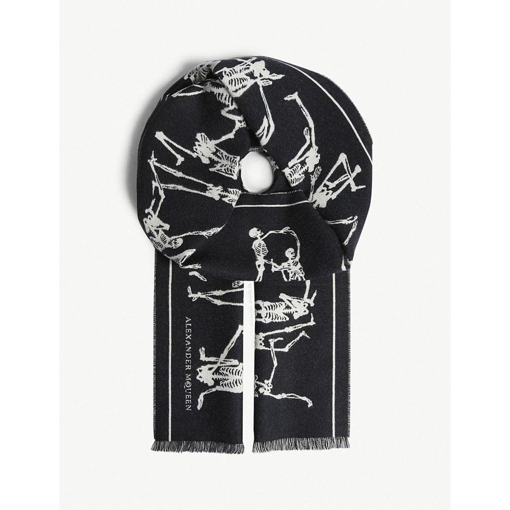 アレキサンダー マックイーン レディース マフラー・スカーフ・ストール【dancing skeleton print wool scarf】Black ivory