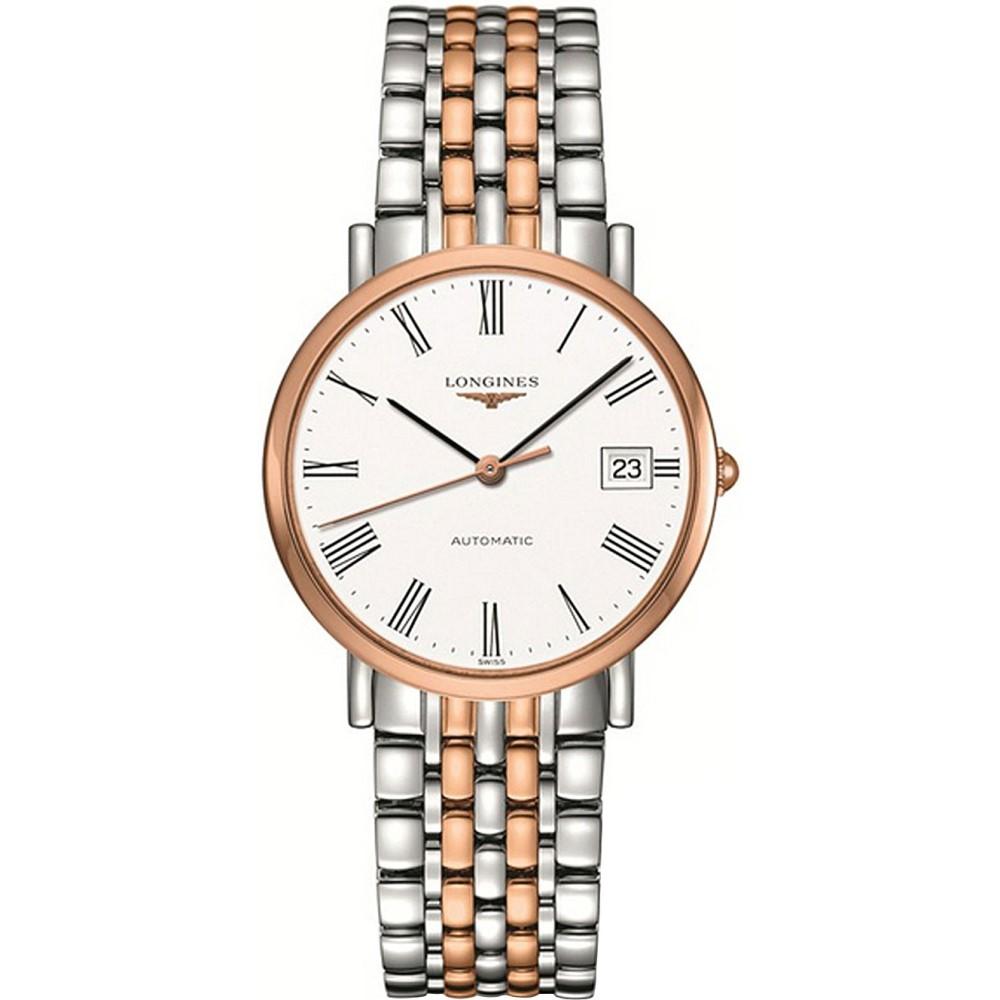 ロンジン メンズ 腕時計【l4.809.5.11.7 elegant collection 18ct rose gold and stainless steel watch】White