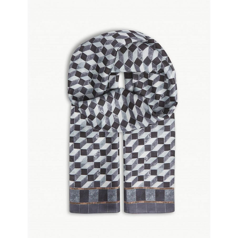 イートン メンズ マフラー・スカーフ・ストール【geometric print silk scarf】Grey