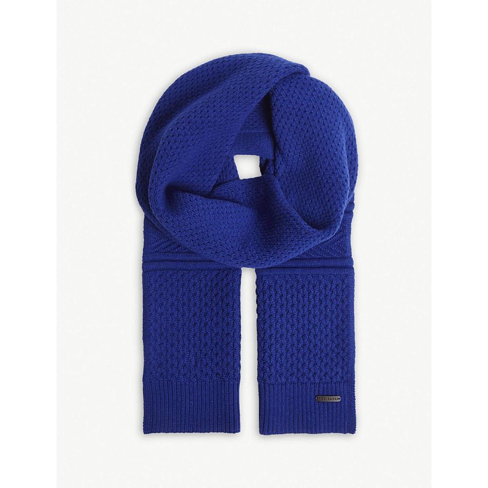 テッドベーカー メンズ マフラー・スカーフ・ストール【elver knitted cotton-blend scarf】Blue