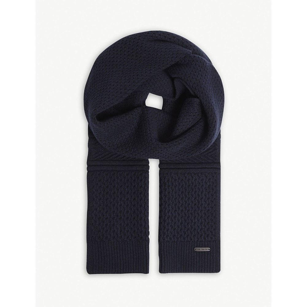 テッドベーカー メンズ マフラー・スカーフ・ストール【elver knitted cotton-blend scarf】Navy