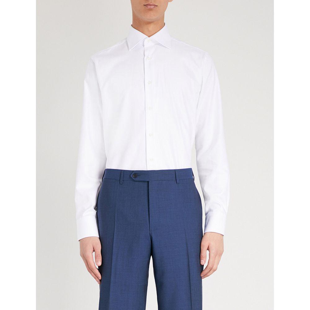 カナーリ メンズ トップス シャツ【herringbone regular-fit cotton shirt】White
