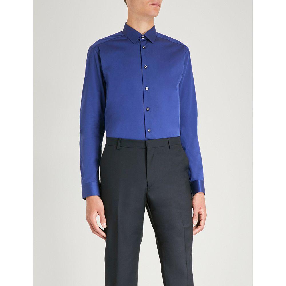 イートン メンズ トップス シャツ【super slim-fit cotton-poplin shirt】Blue