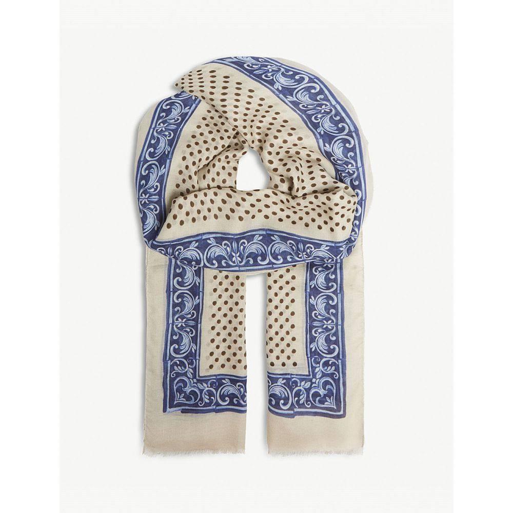 イートン メンズ マフラー・スカーフ・ストール【polka dot floral print wool-blend scarf】Blue