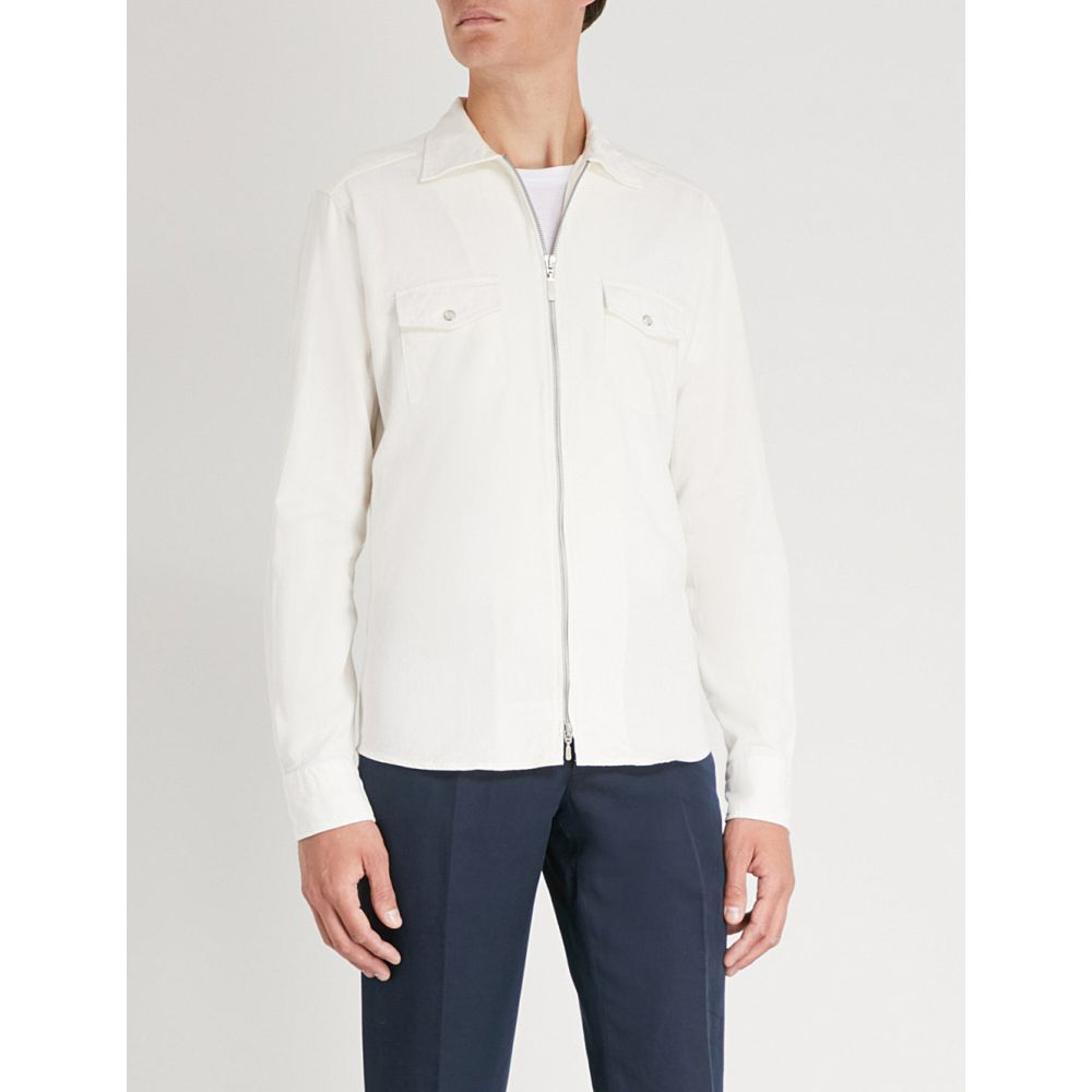イートン メンズ トップス シャツ【slim-fit cotton-twill overshirt】White