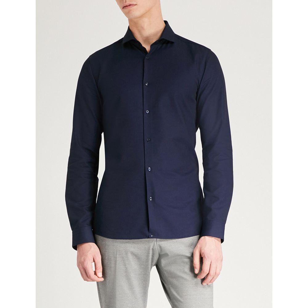 ヒューゴ ボス メンズ トップス シャツ【extra slim-fit cotton-pique shirt】Navy