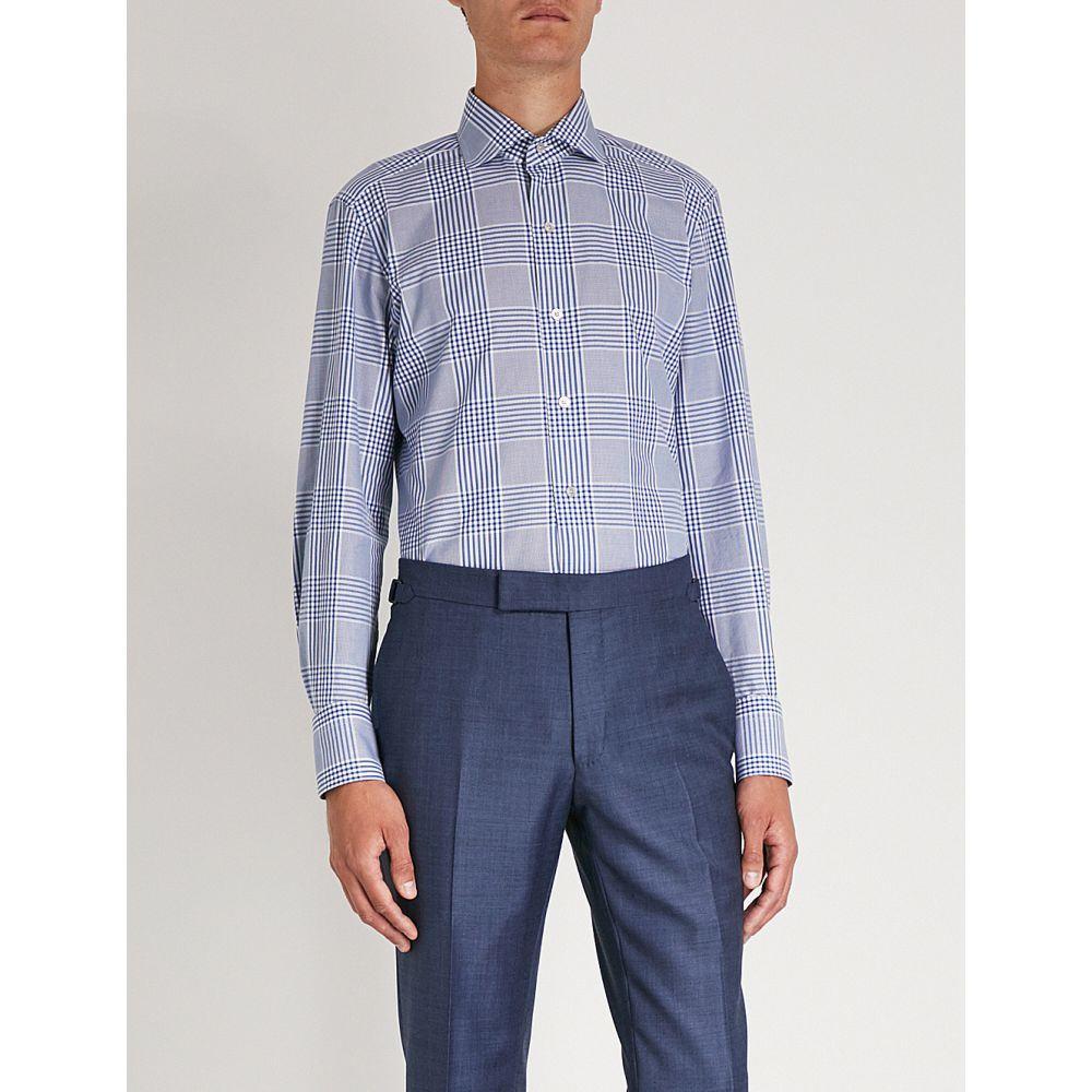 トム フォード メンズ トップス シャツ【checked slim-fit cotton shirt】Blue
