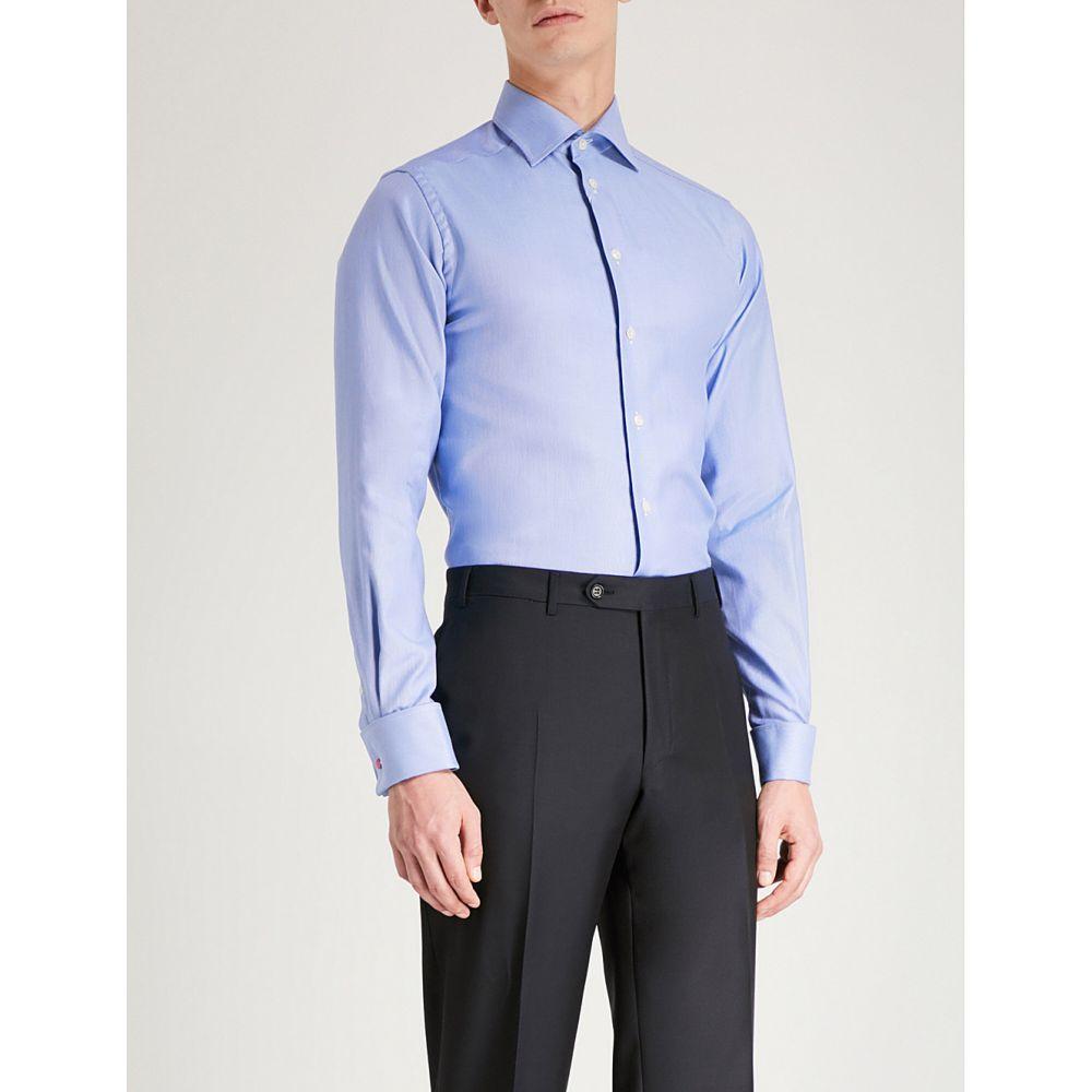 イートン メンズ トップス シャツ【striped contemporary-fit cotton shirt】Blue