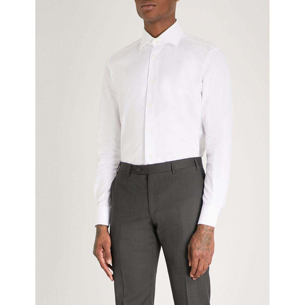 コルネリアーニ メンズ トップス シャツ【micro herringbone tailored-fit cotton shirt】White