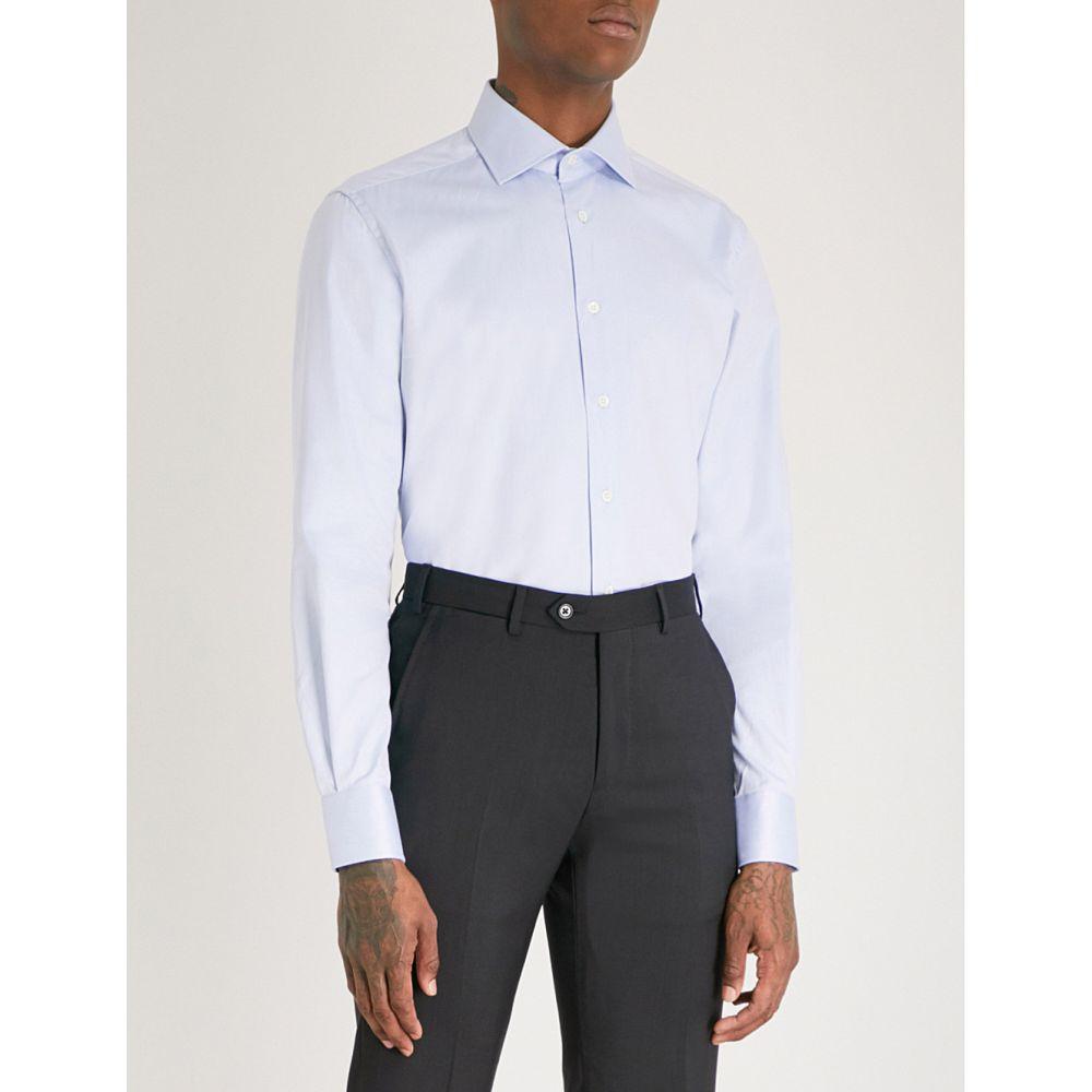 コルネリアーニ メンズ トップス シャツ【micro herringbone tailored-fit cotton shirt】Sky