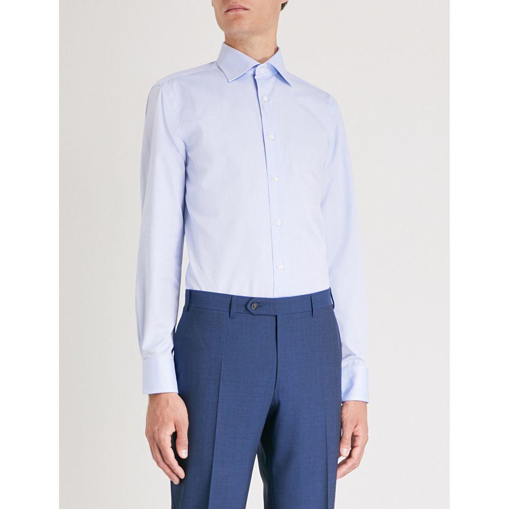 カナーリ メンズ トップス シャツ【diamond-print cotton shirt】Blue