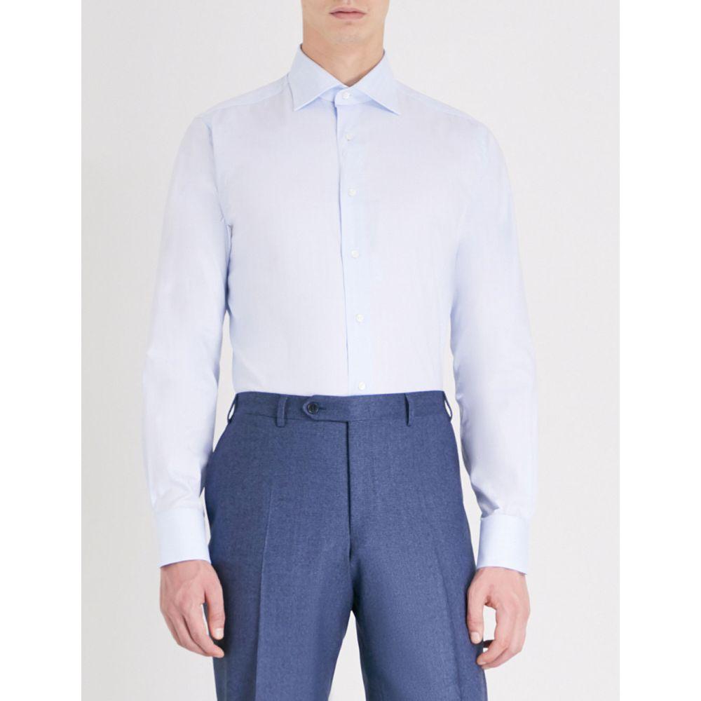 カナーリ メンズ トップス シャツ【checked modern-fit cotton shirt】Blue