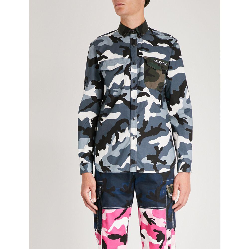 ヴァレンティノ メンズ トップス シャツ【camouflage-print regular-fit cotton shirt】Blue green