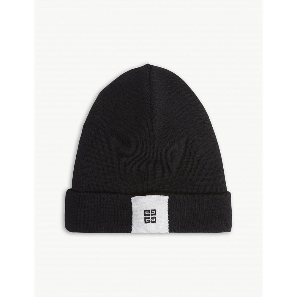 ジバンシー レディース 帽子 ニット【logo wool beanie】Black/white