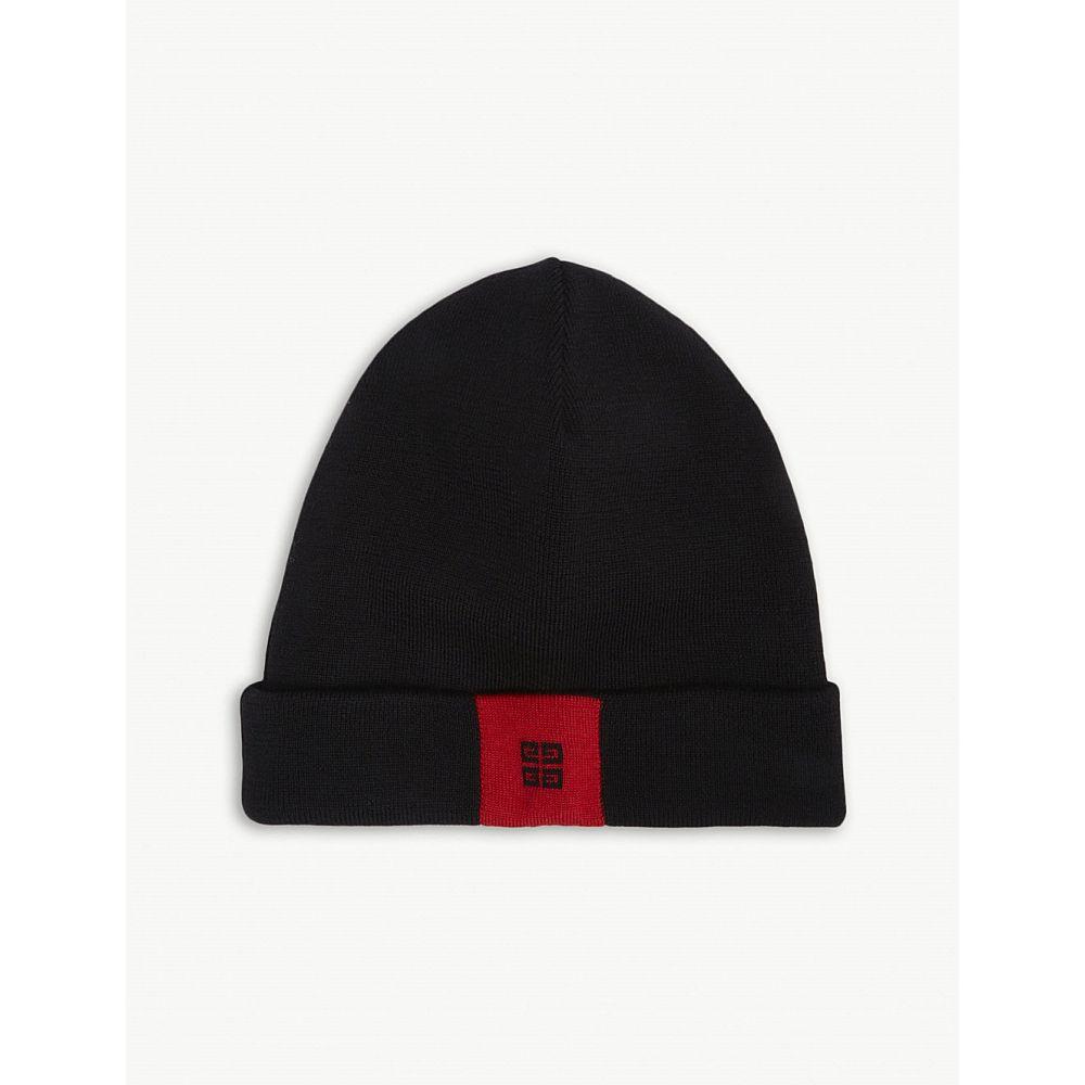 ジバンシー レディース 帽子 ニット【logo wool beanie】Black/red