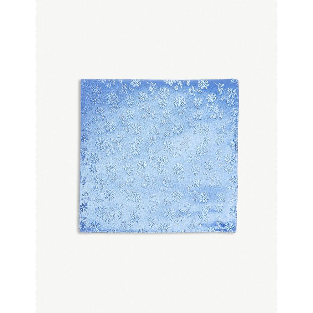 ドゥシャン メンズ ハンカチ・チーフ【daisy plain print silk pocket square】Blue