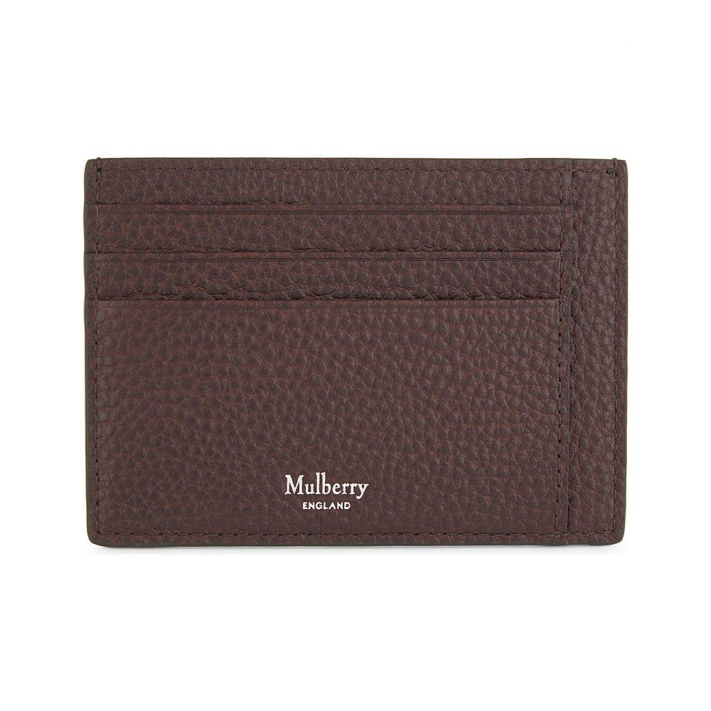 マルベリー メンズ カードケース・名刺入れ【grained leather card holder】Oxblood