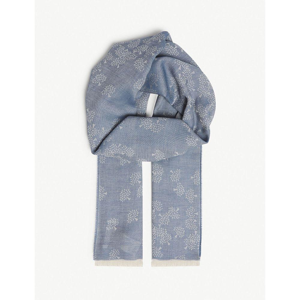 マルベリー レディース マフラー・スカーフ・ストール【tamara logo cotton scarf】Metal blue