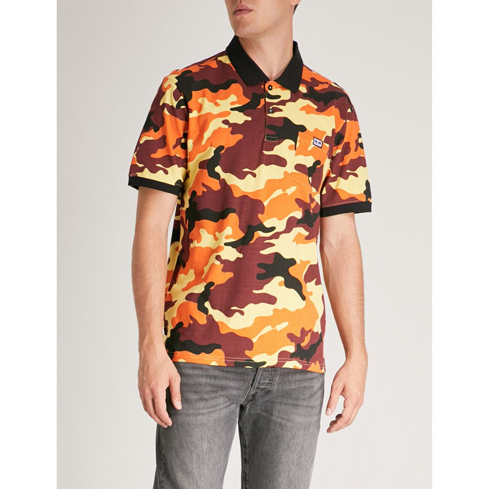 オベイ メンズ トップス ポロシャツ【all eyez cotton-jersey polo shirt】Field orange camo