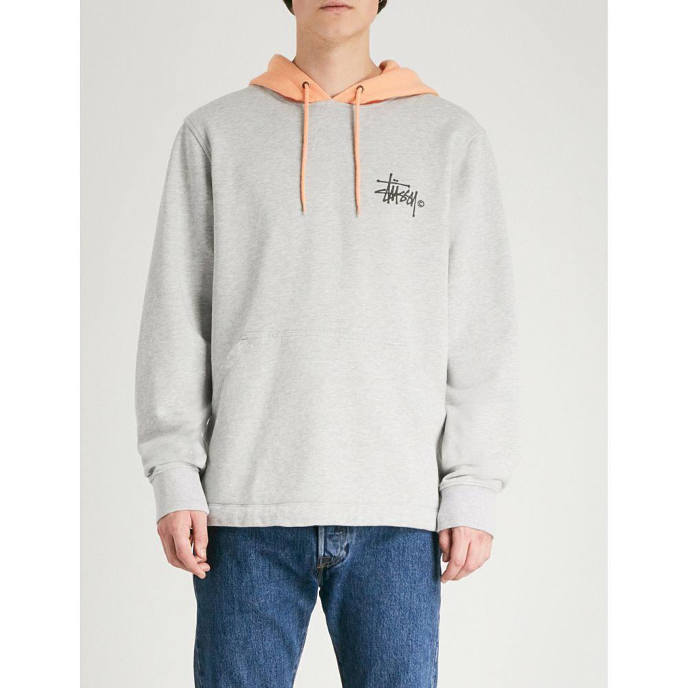 ステューシー メンズ トップス パーカー【colour-blocked drawstring cotton-jersey hoody】Grey heather