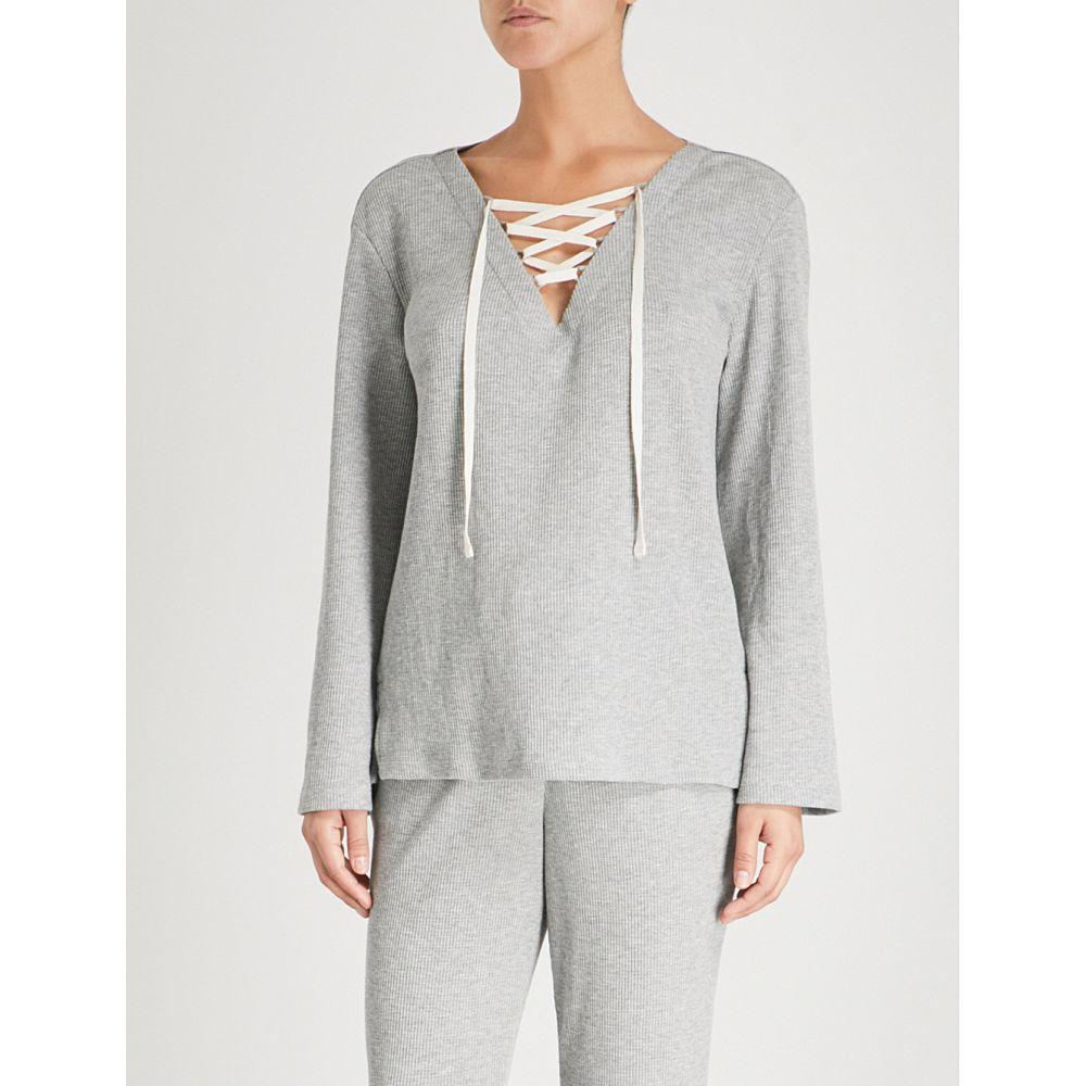 スキン レディース インナー・下着 パジャマ・トップのみ【elyse cotton-blend pyjama top】Heather grey