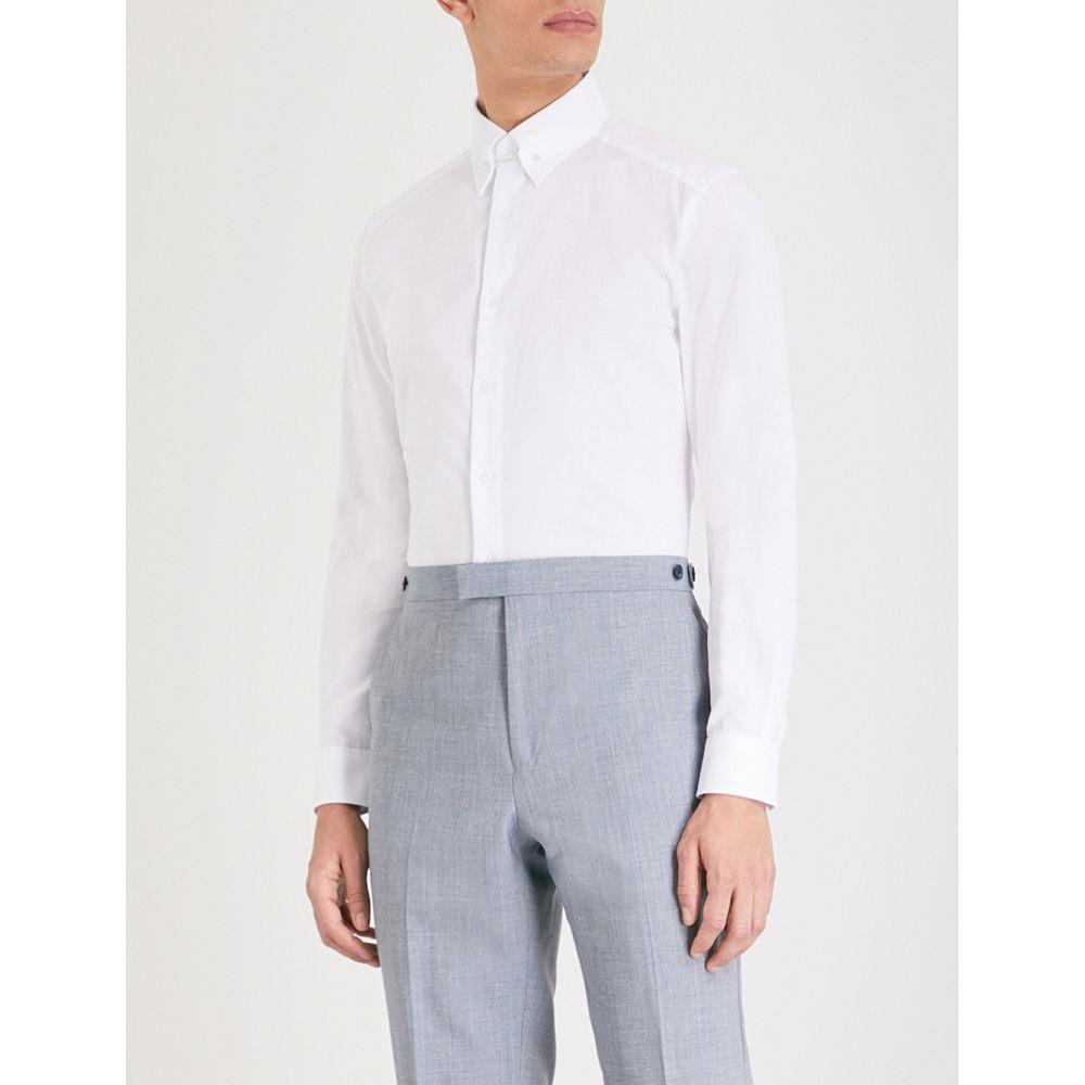 リース メンズ トップス シャツ【angel bar-detail slim-fit cotton shirt】White