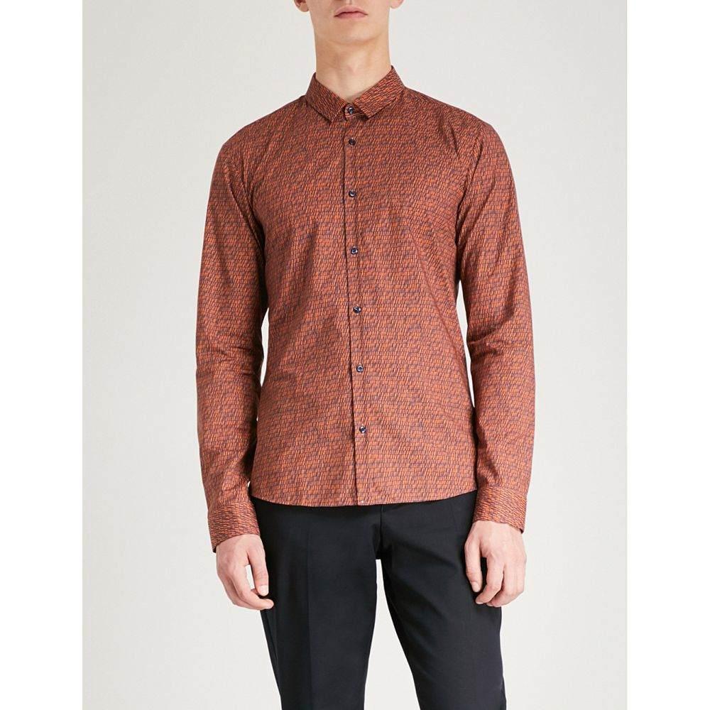 ヒューゴ ボス メンズ トップス シャツ【extra slim-fit cotton shirt】Medium orange