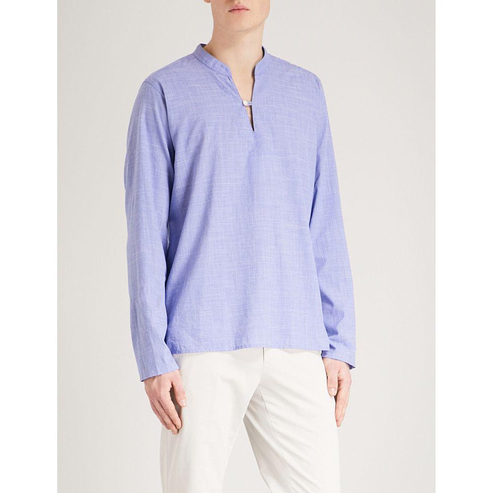 イートン メンズ トップス シャツ【cross-hatch regular-fit cotton shirt】Blue