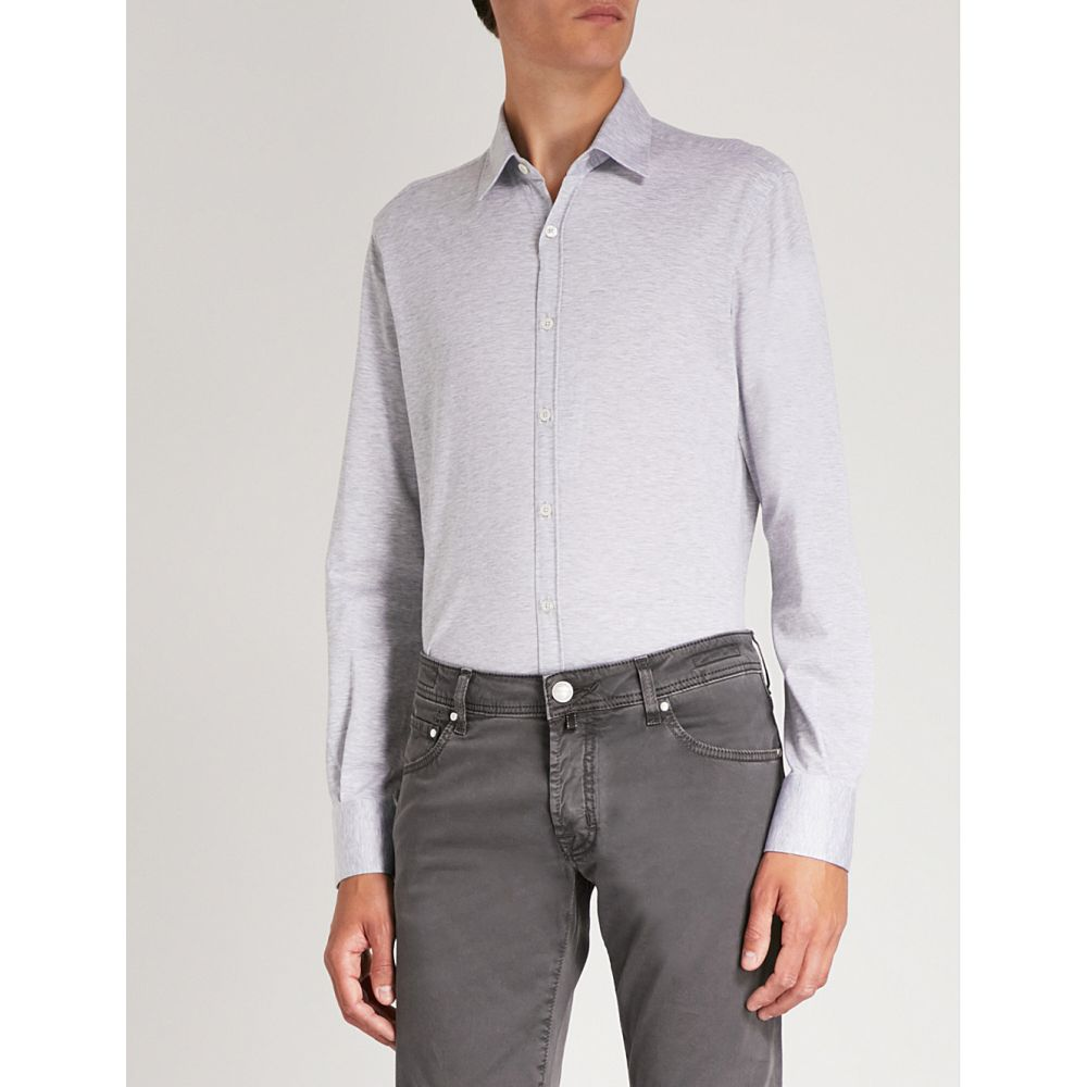 カナーリ メンズ トップス シャツ【modern-fit cotton-jersey shirt】Grey