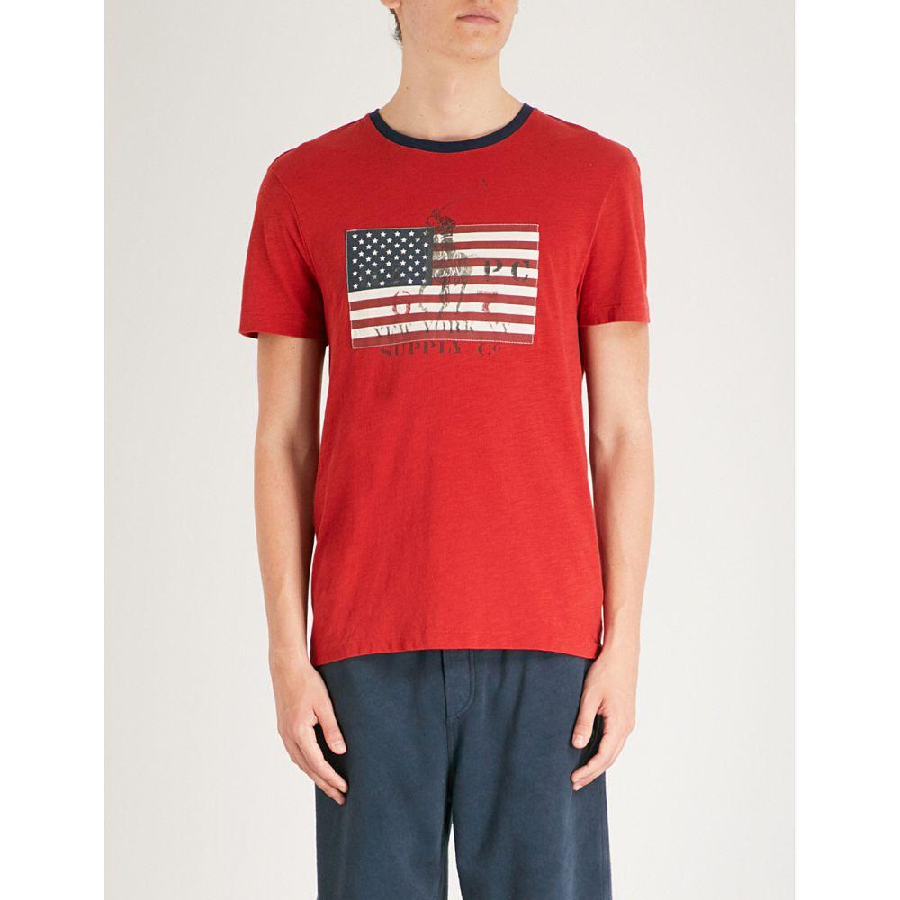 ラルフ ローレン メンズ トップス Tシャツ【flag-print custom slim-fit cotton-jersey t-shirt】Red beret