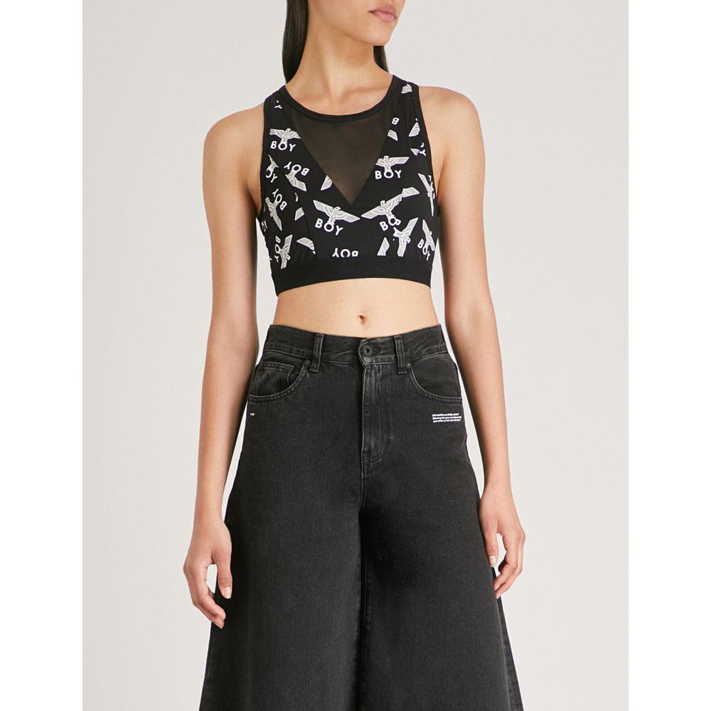 ボーイロンドン レディース インナー・下着 スポーツブラ【logo-print mesh-panelled stretch sports bra】Black