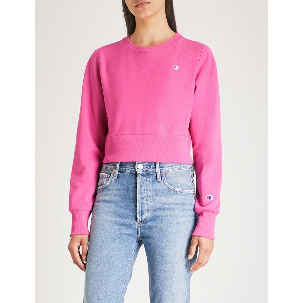 チャンピオン レディース トップス スウェット・トレーナー【logo-embroidered cotton-jersey cropped sweatshirt】Rov