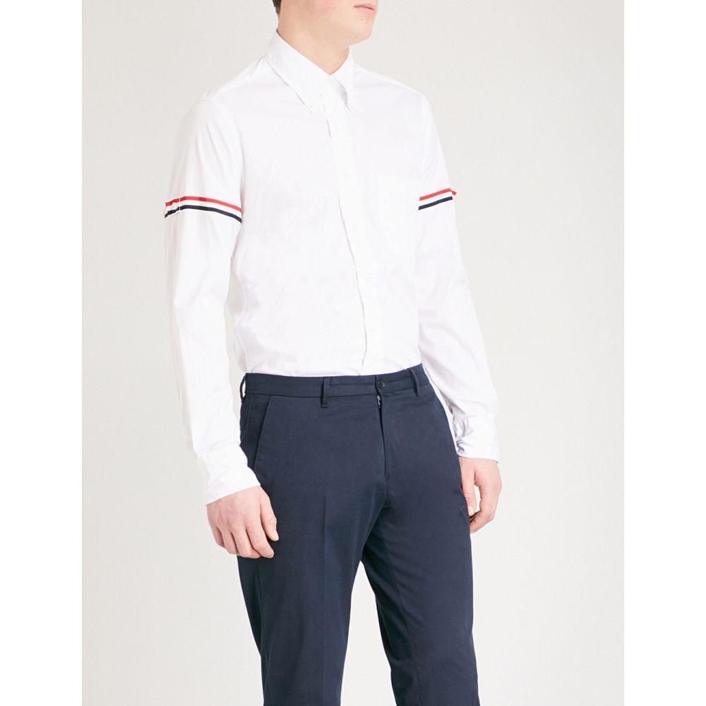 トム ブラウン メンズ トップス シャツ【signature-stripe regular-fit cotton-twill shirt】Off white
