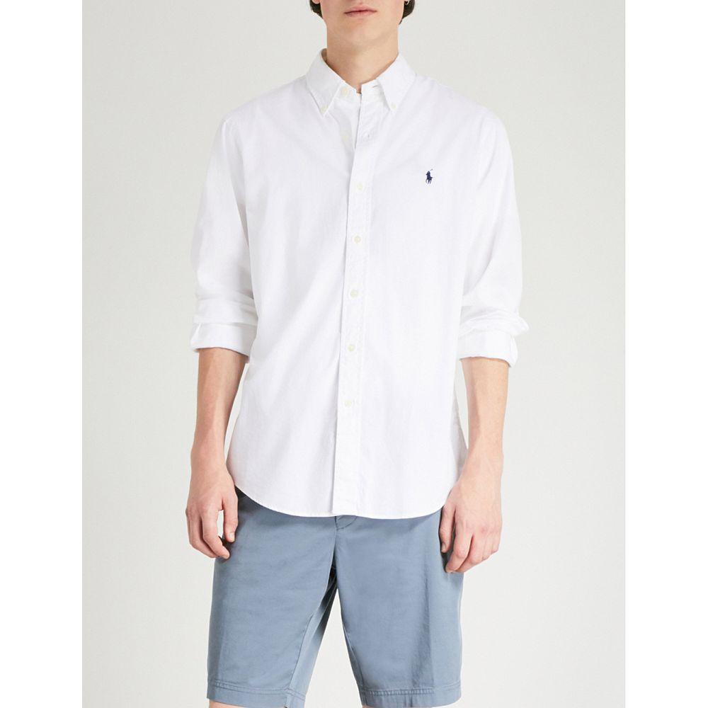 ラルフ ローレン メンズ トップス シャツ【slim-fit logo-embroidered cotton shirt】White