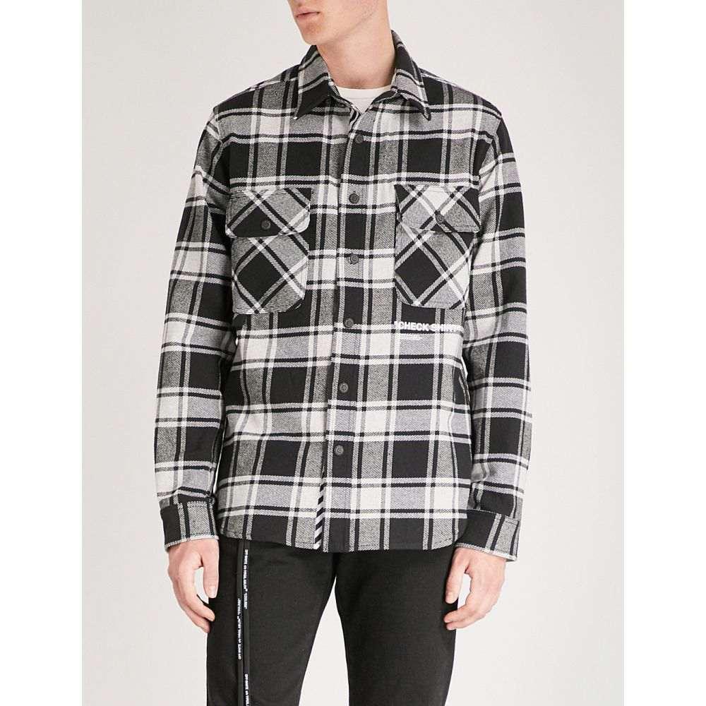 オフホワイト メンズ トップス シャツ【check shirt-print brushed cotton-blend shirt】Grey