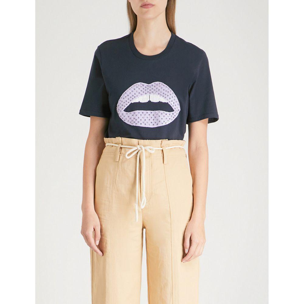 マーカス ルーファー レディース トップス Tシャツ【alex sequinned lara lip cotton-jersey t-shirt】Navy/lilac