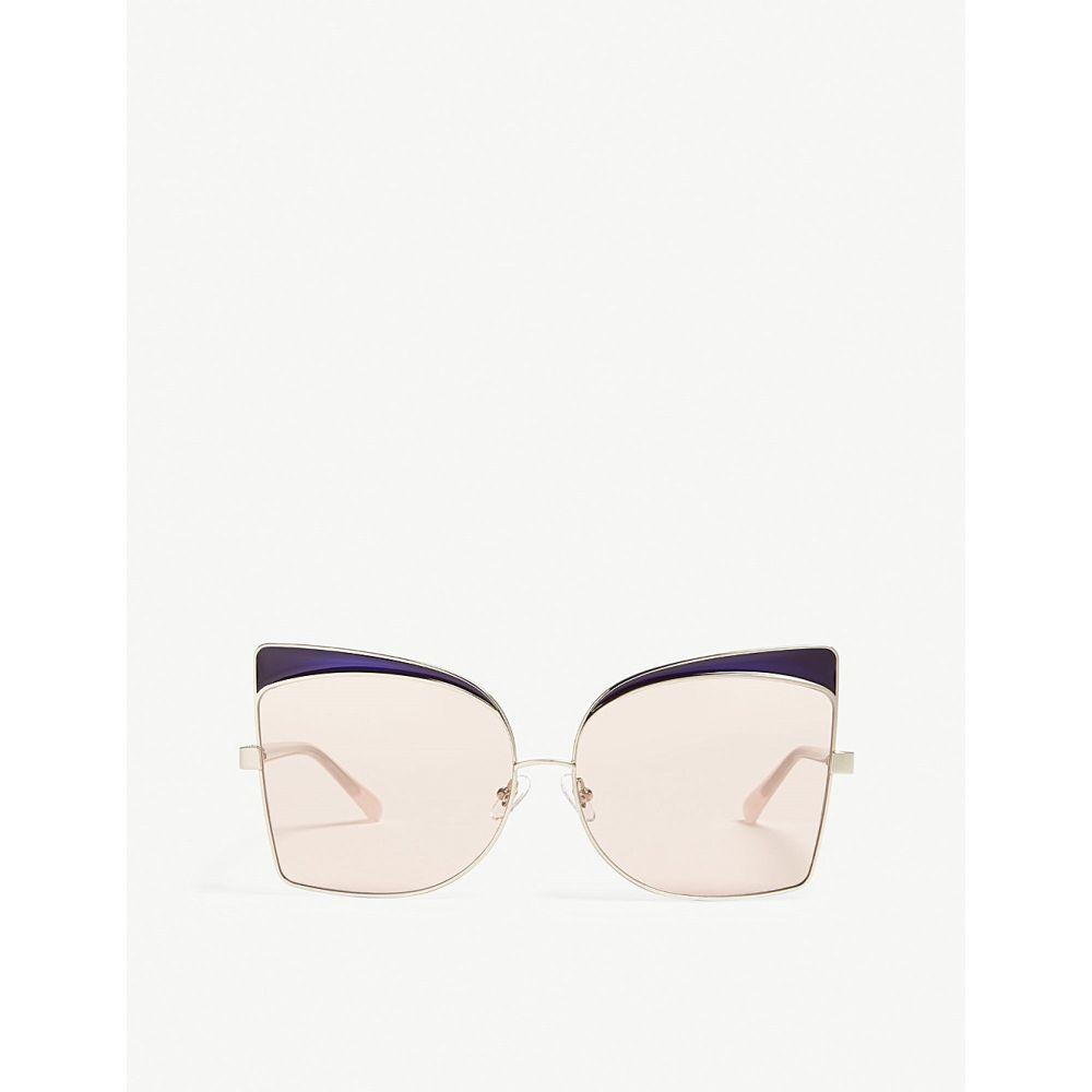 リンダ ファロー レディース メガネ・サングラス【n21s5 oversized cat-eye frame sunglasses】Light gold