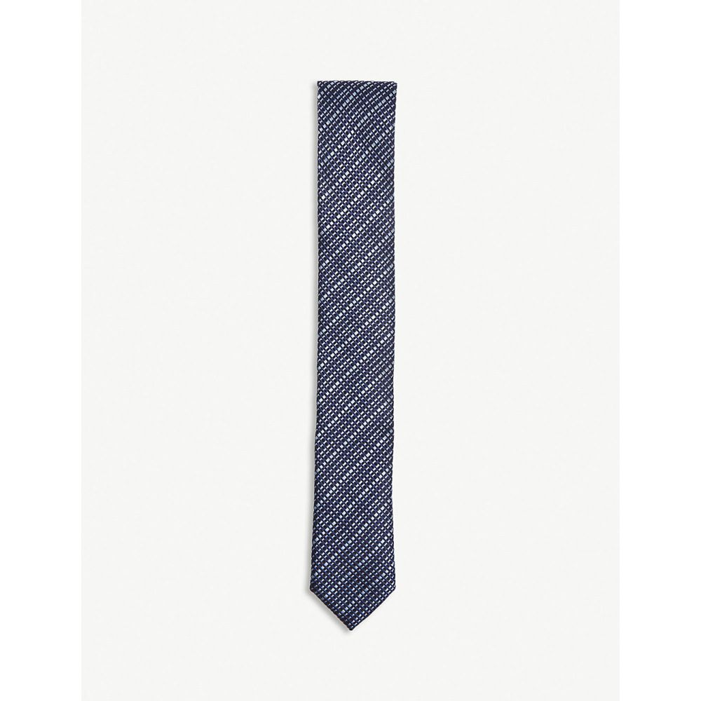 ヒューゴ ボス メンズ ネクタイ【check print silk tie】Open blue