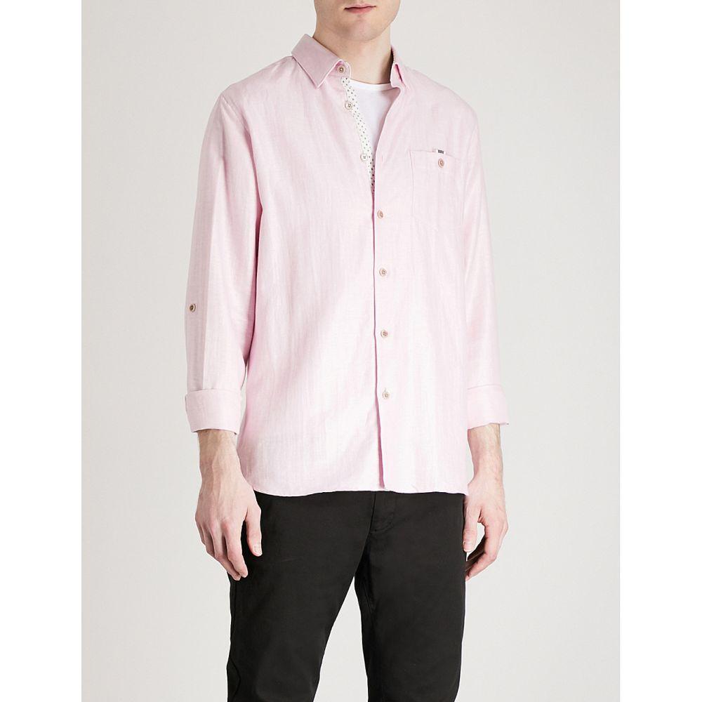 テッドベーカー メンズ トップス シャツ【regular-fit cotton and linen-blend shirt】Light pink