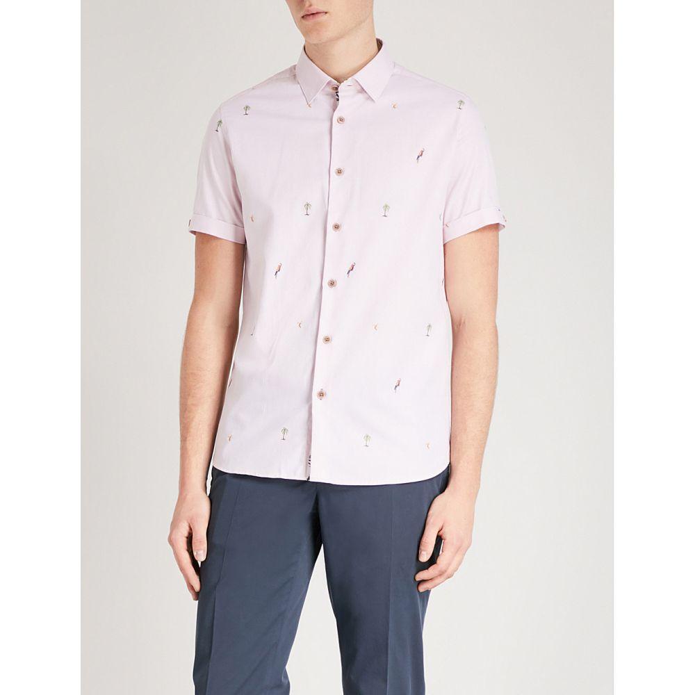 テッドベーカー メンズ トップス 半袖シャツ【parcoop cotton-fil coupe shirt】Pink