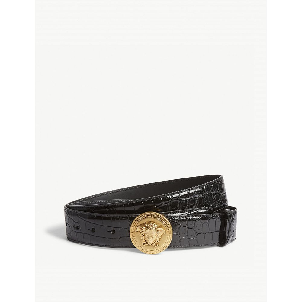 ヴェルサーチ メンズ ベルト【medusa coin crocodile-embossed leather belt】Black gold
