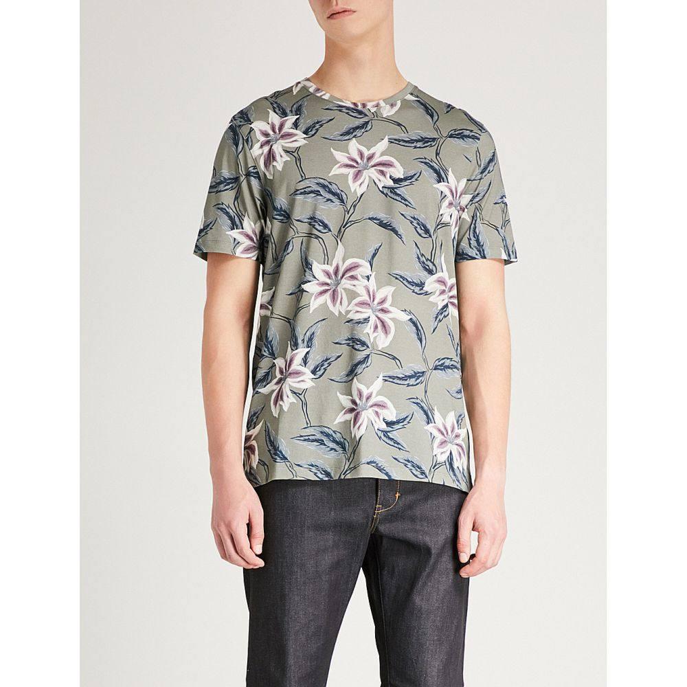 テッドベーカー メンズ トップス Tシャツ【floral-print cotton-jersey t-shirt】Khaki