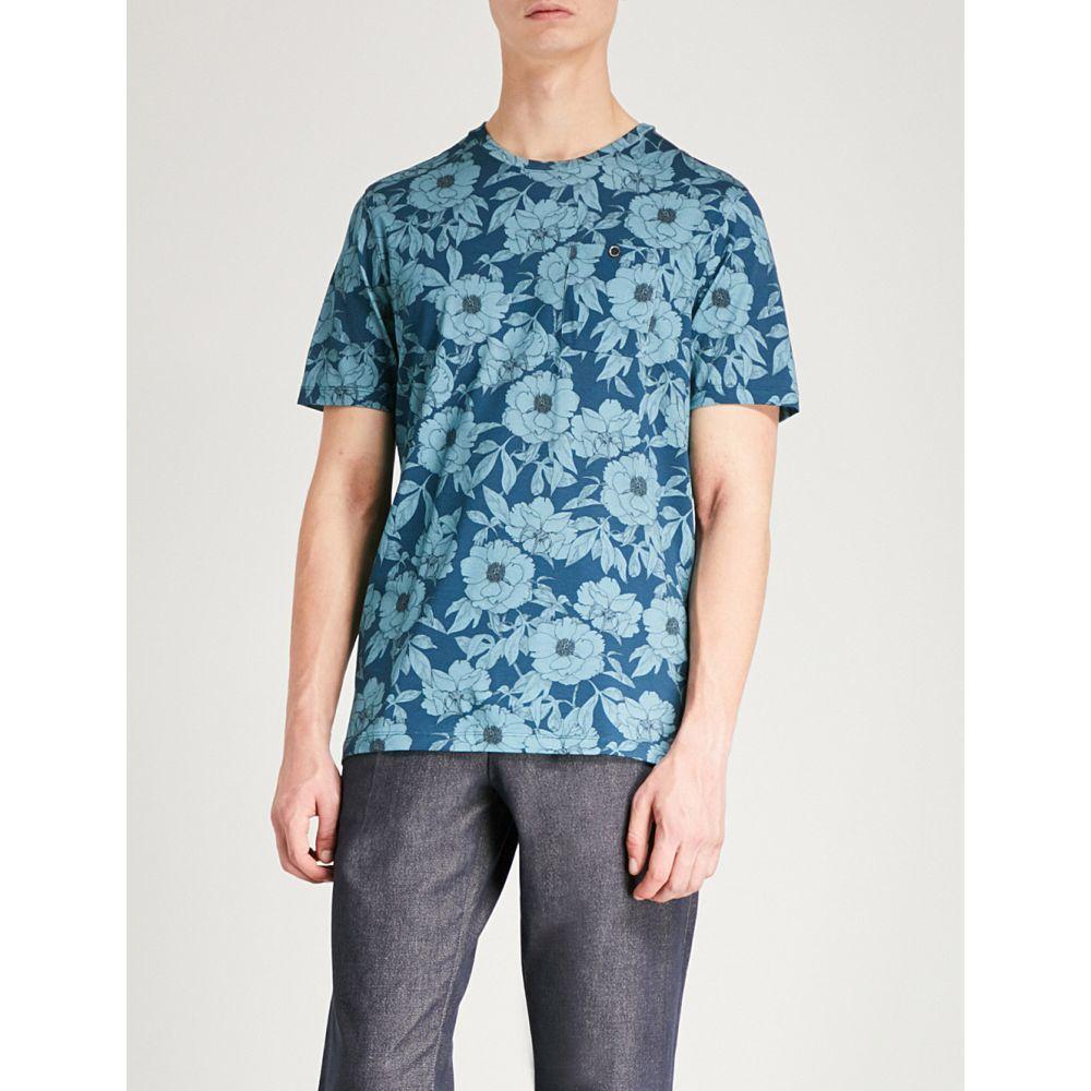 テッドベーカー メンズ トップス Tシャツ【floral-print cotton-jersey t-shirt】Blue