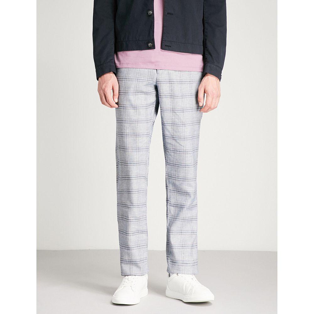 テッドベーカー メンズ ボトムス・パンツ【checked regular-fit linen-blend trousers】Blue